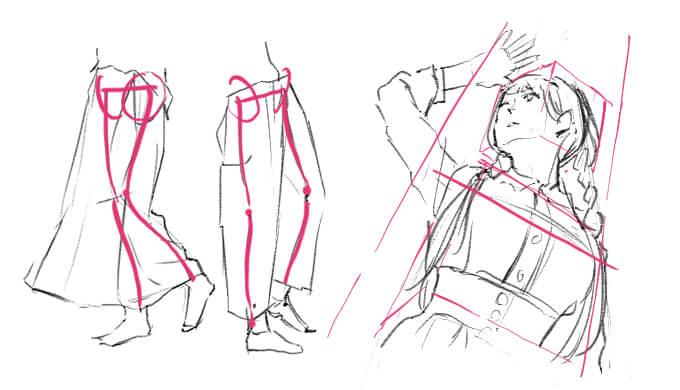 服の下やパースを意識して模写する